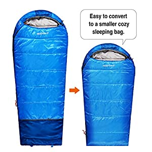 REDCAMP Kids Mummy Sleeping Bag for Camping Zipped Small, 30 Degree All Season Cold Weather Fit Boys,Girls & Teens (Blue with 2.4lbs Filling)
