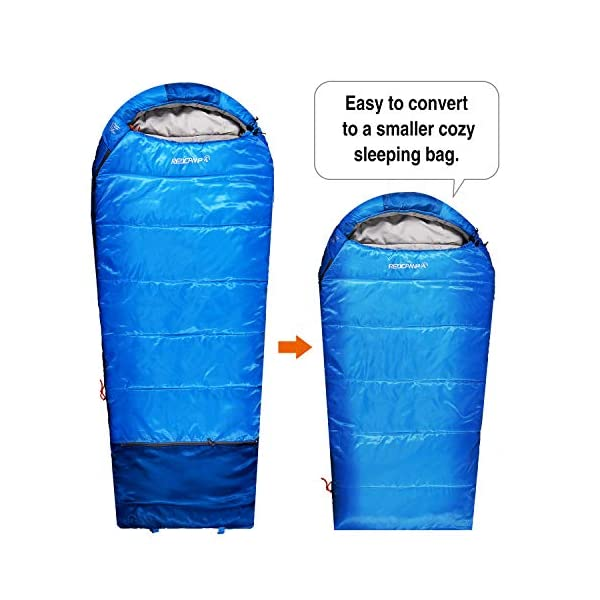 REDCAMP Kids Sleeping Bag for Camping, 32-77 Degree 3 Season Warm or Cold Weather Fit Boys, Girls & Teens Blue/Rose Red 4
