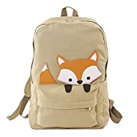 unison gifts 85120CN-KH Peeking Baby Fox Canvas Backpack, One Size, Multicolor