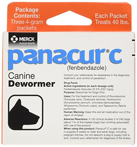 Puppy Package (Panacur C Canine Dewormer, Net Wt. 12 grams, Package Contents Three, 4 gram packets)