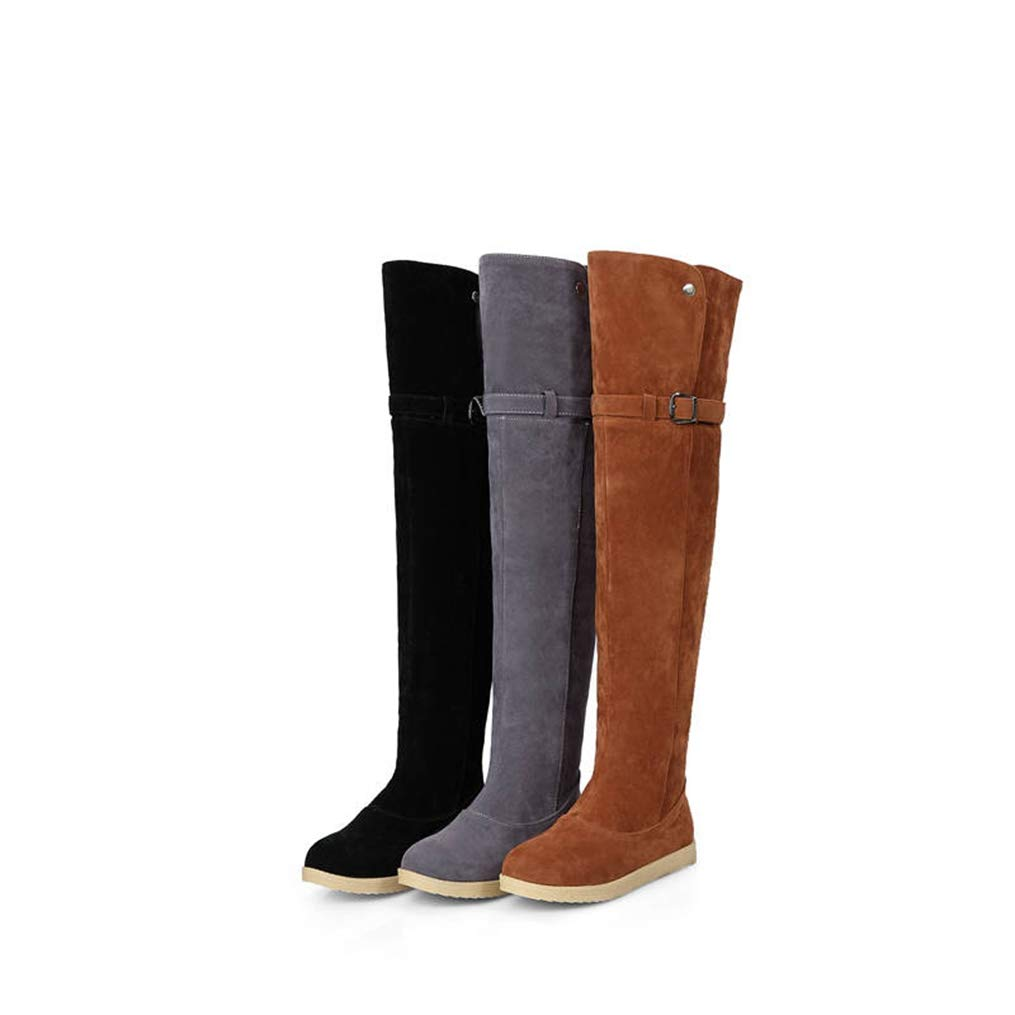 Hoxekle Winter Thigh High Over The Knee Boots Women Round Toe Snow Boots Buckle Comfortable Flat Short Plush Shoes