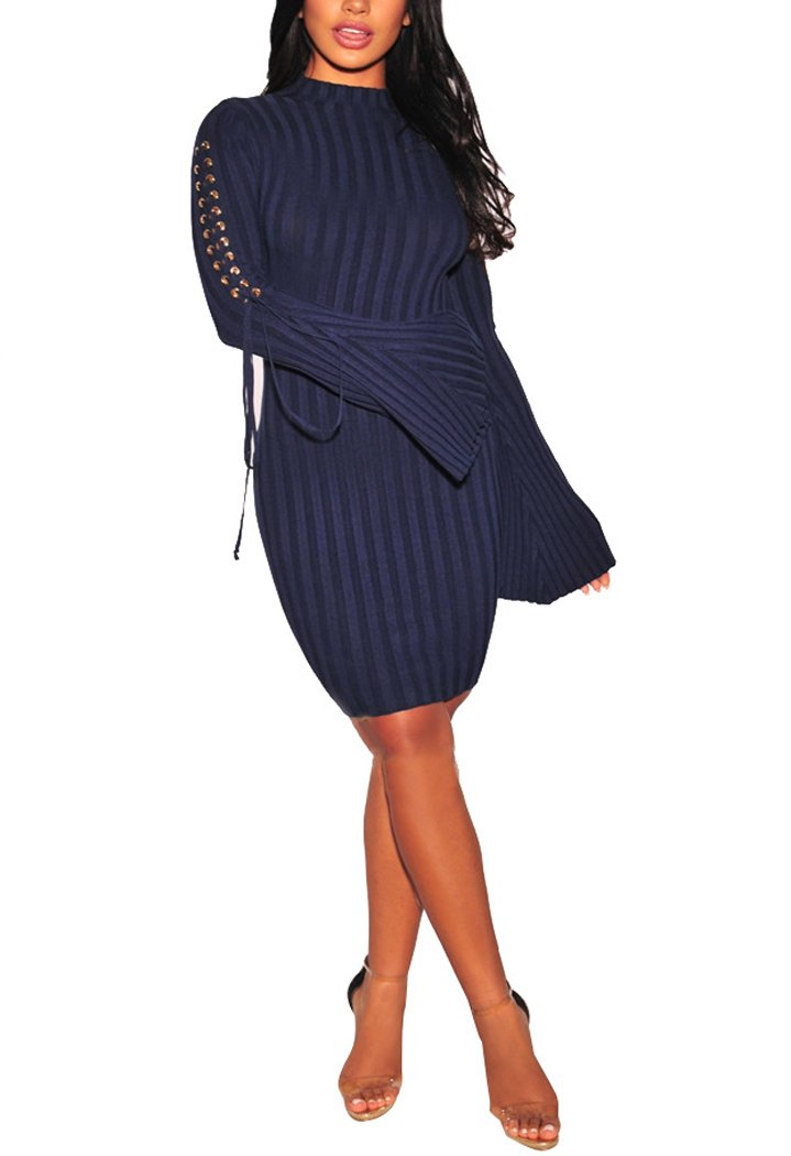 Sexycherry Womens Long Sleeve Casual Work Business Party Stretchable Elasticity Slim Fit Sweater Dress