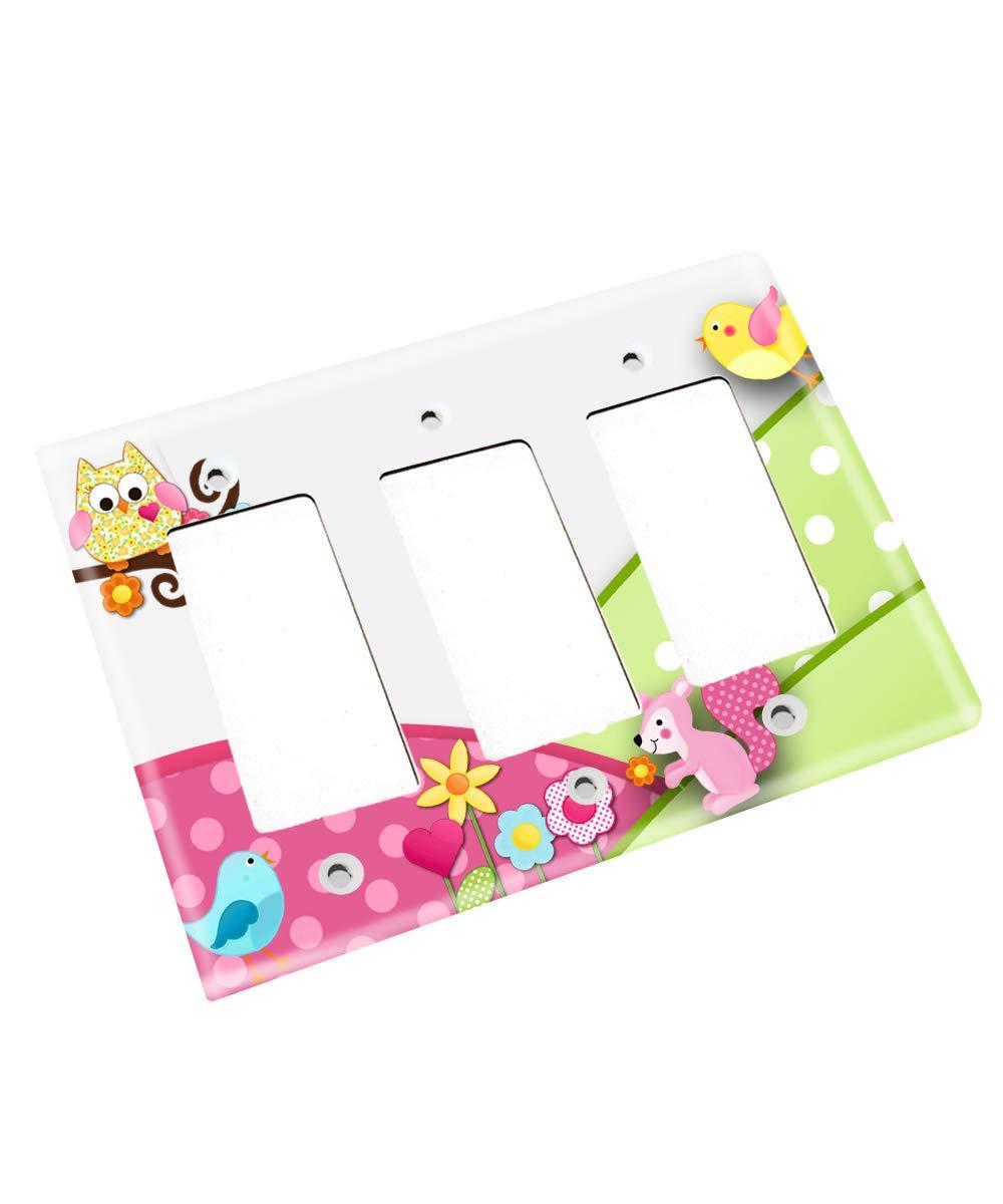 Happy Owl Girls Boys Nursery Bedroom Single Light Switch Cover LS0024 (Triple Decora)