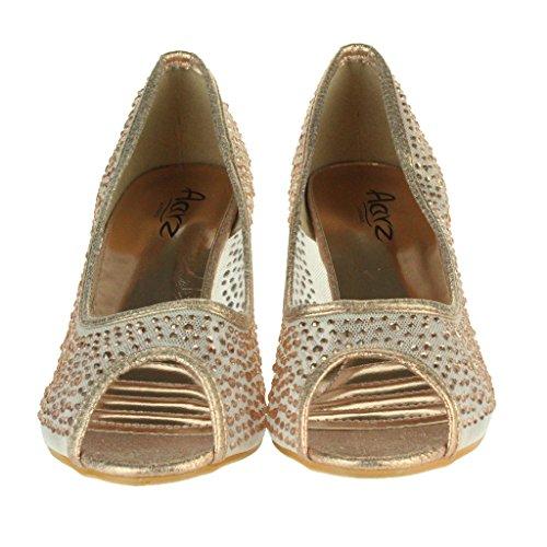 Mujer Señoras Malla diamante Peep Toe Noche Boda Nupcial Fiesta Paseo Tacones medianos Zapatillas Sandalias Zapatos Talla Champán