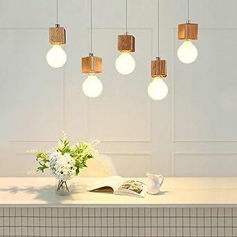 Lámpara colgante GBLY lámpara de mesa de comedor de 5 llamas de madera Lámpara colgante ajustable en altura de 150cm con enchufe E27 para comedor cocina sala de estar restaurante (sin bombillas):