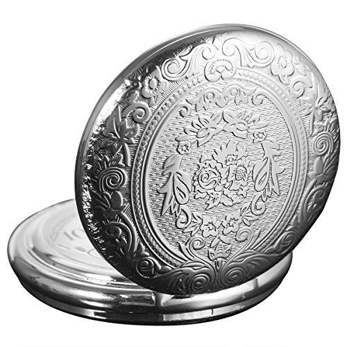 - SIBOSUN Vintage Japanese Quartz Movement Pocket Watch Classic Silver Flower Case Chain Arabic Numerals