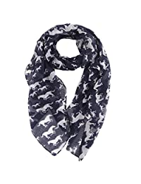 MissShorthair Womens Lightweight Unicorn Horse Print Long Scarfs