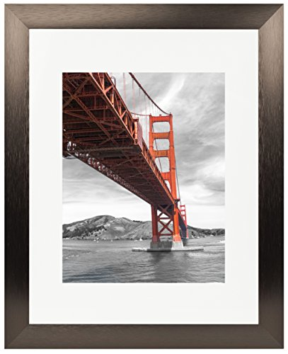 Frametory, 11x14 Dark Brown Brushed Metal Picture Frame Collection, Aluminum Photo Frame with Ivory Color Mat for 8x10 Picture & Real Glass