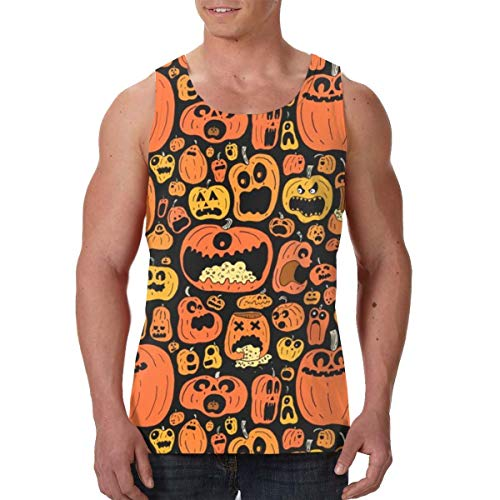Funny Halloween Calabazas Men's Premium Workout Tank Top Polymer Shapewear Sauna Vest for Boys Black -