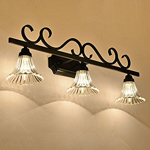 - Loft American Bathroom Wall Lamp Black Painted Metal Striated Clear Horn Glass Lampshade Corridor Wall Sconce Washroom Mirror Front Wall Lighting Fixtures (3 Heads)
