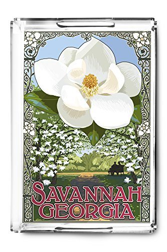 OKSLO Savannah, georgia - single white magnolia - artwork (acrylic serving tray) model d638