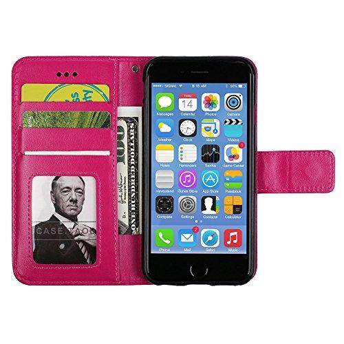 iPhone 6/6S Brieftache,Flip Handyhülle für iPhone 6 4.7 Zoll, Aeeque iPhone 6 6S (4.7) [Einzigartig Palme Blumen Augen] Kartenfach Standfunktion mit Abnehmbar Handy Lanyard und Weich Silikon Innere Sc Mandala Muster Hot Pink