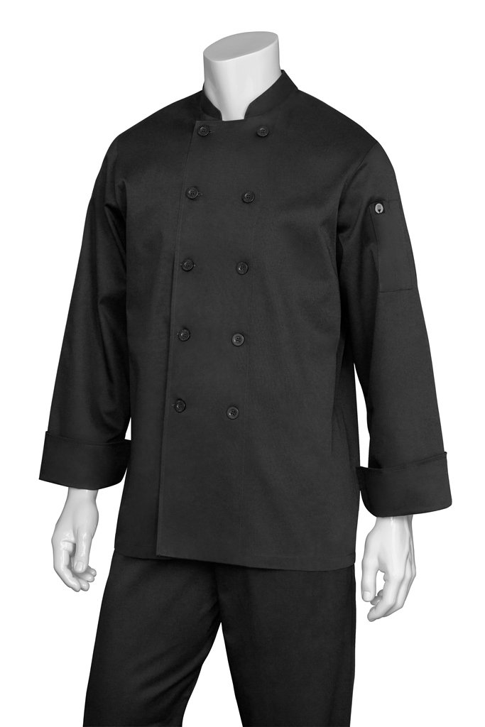 Chef Works Men's Bastille Chef Coat, Black, X-Large by Chef Works