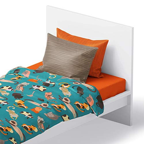 Chital 4Pc Twin Linen Sheet Set - Cute Cat Print - Flat & Fitted Sheets with 2 Pillowcases for Kids Boy Girl & Teens - Super Soft Microfiber - Fits Bed Size: 39 x 75 x 15 inches Deep