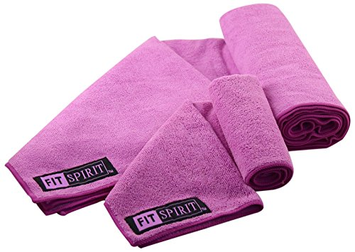 Fit Spirit Microfiber Yoga Towel and Hand Towel Pink