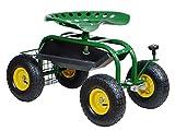 TMS Steel Garden Cart Rolling Work Seat w/ Tool Storage Tray Gardening Planting Yard