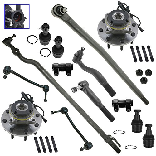 Wheel Bearing Tie Rod Drag Link Ball Joint Steering Suspension Kit Set 14pc for Ford F250 Super Duty Truck Excursion F350 Super Duty (Steering Bearing Set)