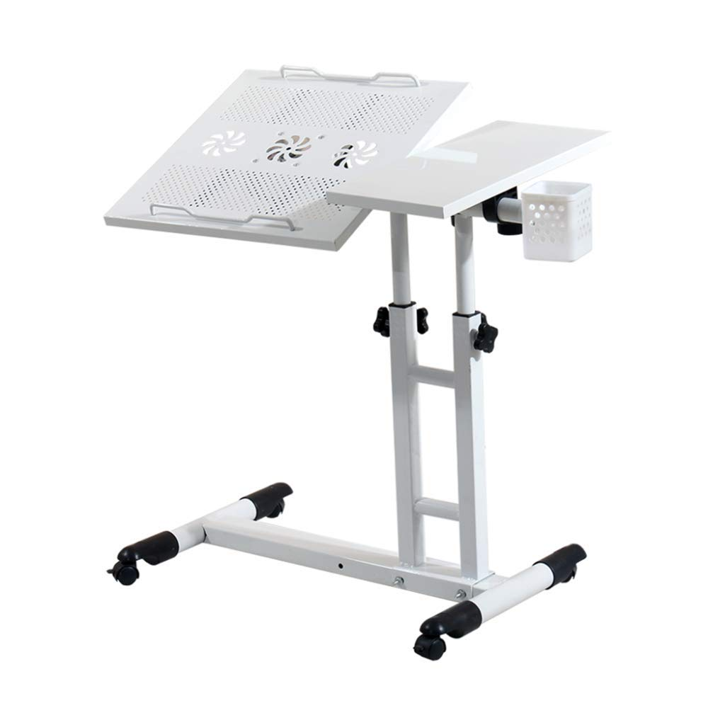 LIULIFE Height Adjustable Rolling Desk Laptop Cart with Mouse Board Pen Holder, Portable Computer Desk for Bedside/Study/Living Room/Office,White-B