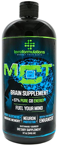 Pure C8 MCT Oil by TERRAFORMULATIONS, 100% Caprylic Acid, Fuel Your Mind & Boost Energy, 3X The Performance of Standard MCT Oils, Keto & Paleo Diet Recommended (32 oz (946ml)) For Sale