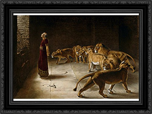 Daniel's Answer to The King 24x18 Black Ornate Wood Framed Canvas Art by Briton Riviere