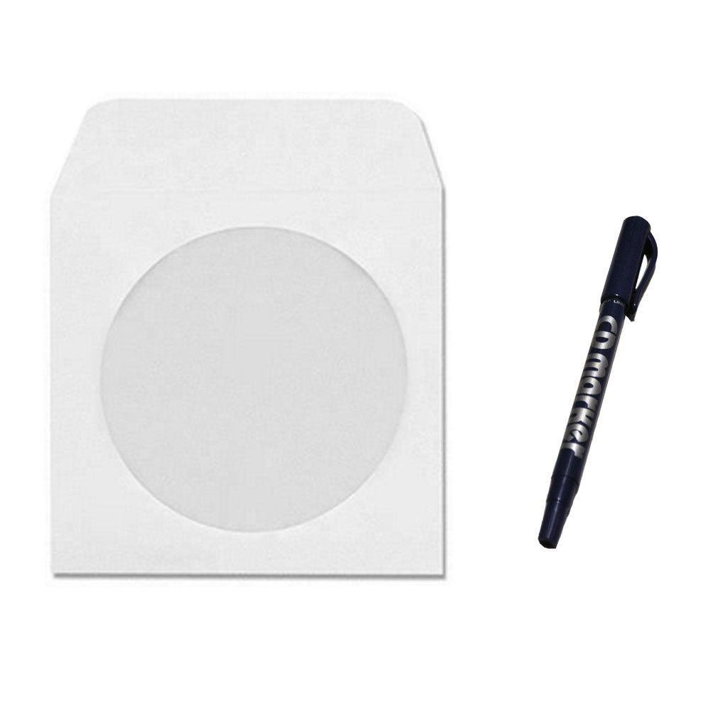 1000 CD DVD Disc White Paper Sleeve / Envelope With 4'' Window & Flap (10 x 100 Pack), Free CD Marker Pen!