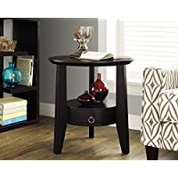 Monarch Specialties Cappuccino  Accent Table with 1 Drawer, 23-Inch