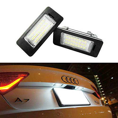 iJDMTOY OEM-Fit 3W Full LED License Plate Light Kit For Audi A1 A6 A7 Q5 TT, Volkswagen Jetta Passat Touareg Touran, Powered by 18-SMD Xenon White LED & Can-bus Error Free