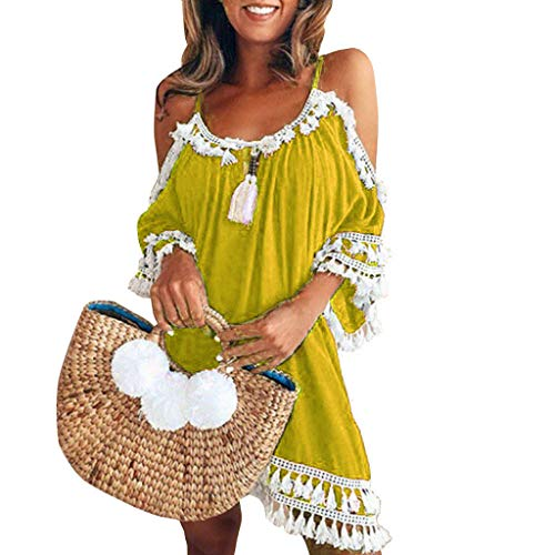 Sumeimiya Women Off Shoulder Dress,Ladies Halter Beach Dresses Tassel Short Cocktail Party Sundress Yellow