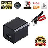 Phone Charger Camera Full 1080P Motion Detection Camera Mini USB Wall Charger Adapter Camera Security Camera Nanny Camera with Internal 32GB SD Card Black[UPGRADED VERSION]