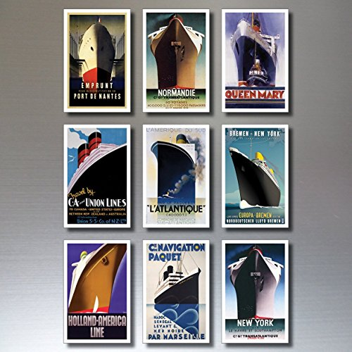 9 Vintage Retro Atlantic Liner Ship Fridge Magnets - Shabby, Chic, Art - Liner Atlantic