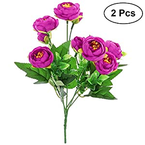 Toyvian 2pcs Artificial Camellia Flowers Bouquet Fake Plant Bundle for for Party Wedding Home Decoration (Purple) 6