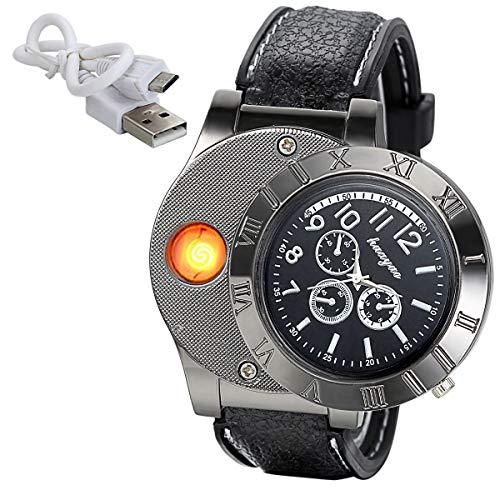 JewelryWe Mens Novelty Cigarette Lighter Watch USB Charging Windproof Quartz Wrist Watch