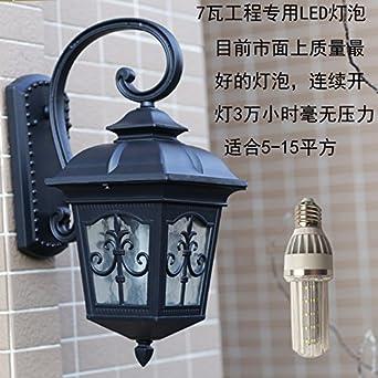 Sencillas, rústicas, lámpara de pared exterior impermeable de aluminio terraza jardín puerta pasillo Luces luces de pared,negro + 7 w bombilla LED de ...