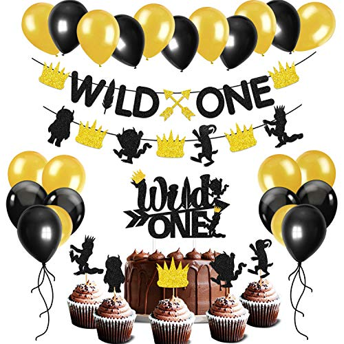 Glitter Wild One Party Decoration Set Wild One Arrow Banner,Wild Things Feather Cake And Cupcake Toppers,Black And Gold Balloons Kids 1st Birthday Party Supplies Kits Baby -