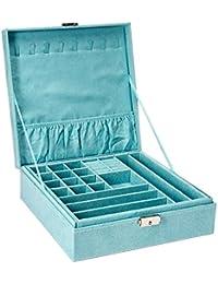 Two-Layer lint Jewelry Box Organizer Display Storage case with Lock (Blue)