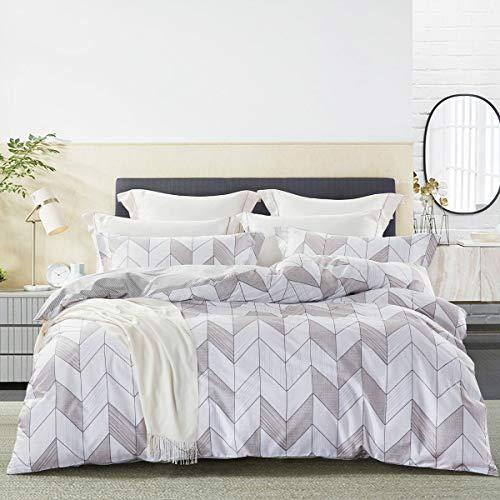 JOHNPEY Duvet Cover King – Geometric Cotton Comforter Cover Set/Bedding Set(1 Grey Duvet Cover 104″x 90″+ 2 Pillow Shams 20″ x 36″)- Zipper Closure