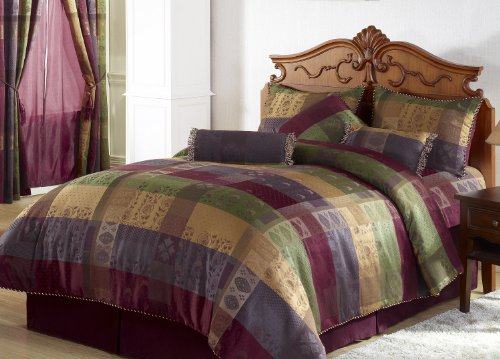 Chezmoi Collection Gitano Jacquard Patchwork 7-Piece Bedding Set, California King, Multi Color