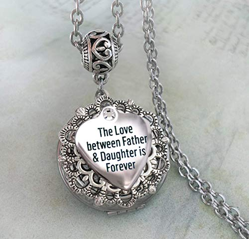 Father Daughter Memorial Locket Necklace, The Love Between Father and Daughter is Forever, Bereavement, Sympathy, Grieving Daughter Gift -