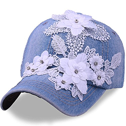 Women's Baseball Cap with Rhinestones Flower Denim Jeans Snapback Golf Sun Hats (Light Blue)