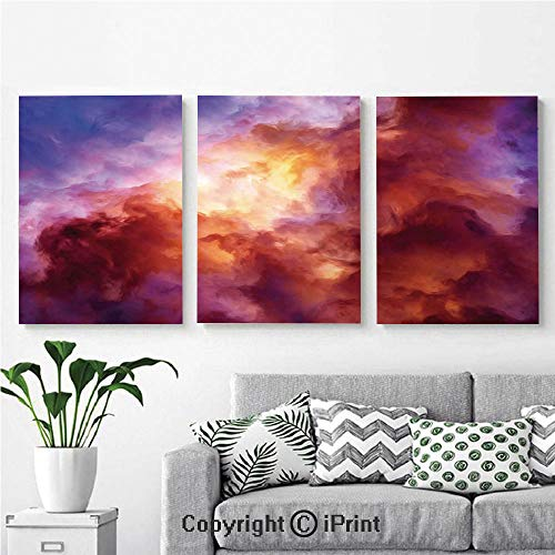 Canvas Prints Modern Art Framed Wall Mural Surreal Colorful Storm Clouds Dramatic Mystical Creation Birth of Stars Concept for Home Decor 3 Panels,Wall Decorations for Living Room Bedroom Dining Roo (Best Minecraft Creation Maps)