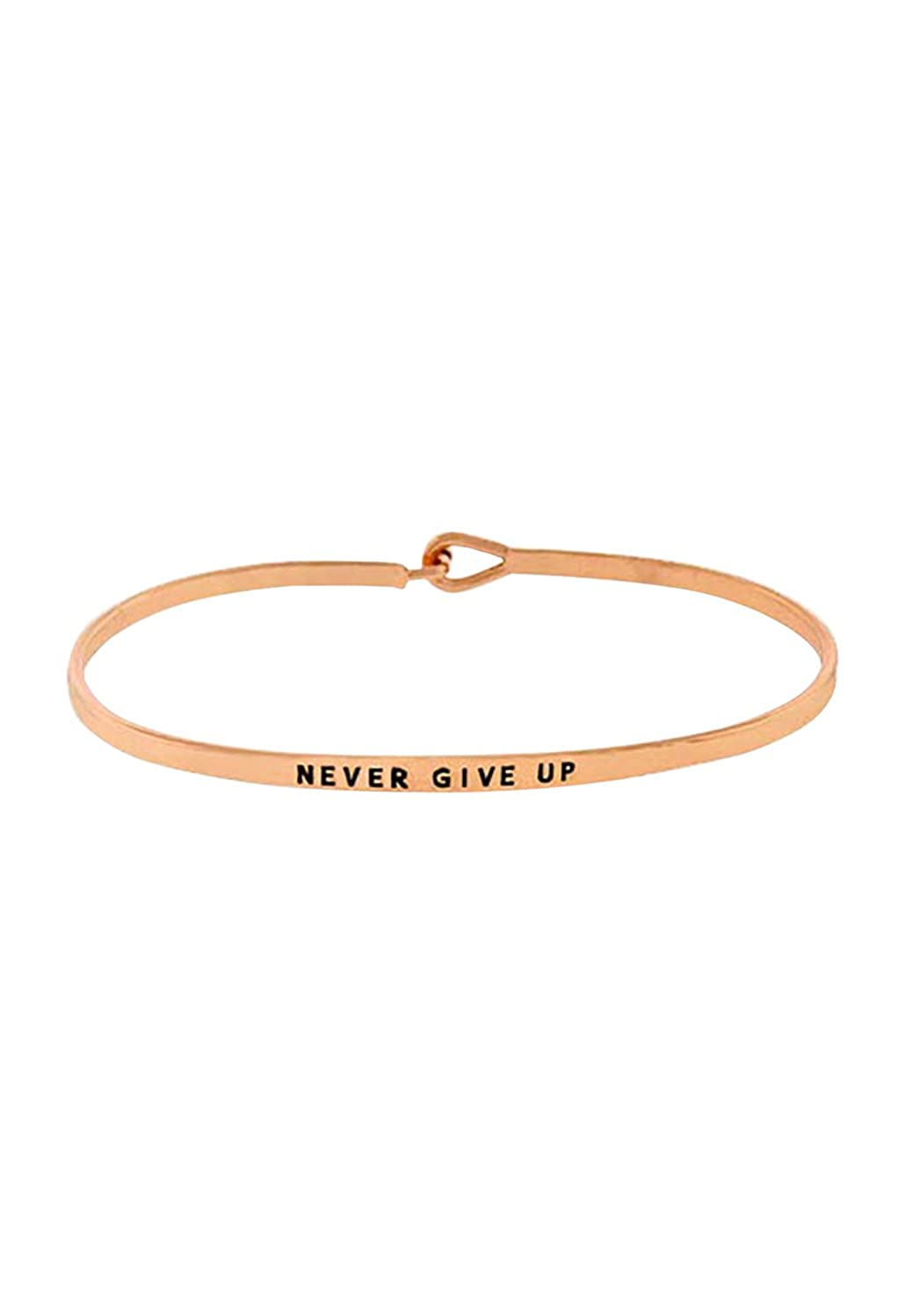 Rosemarie Collections Womens Inspirational Thin Metal Bangle Bracelet Never Give Up