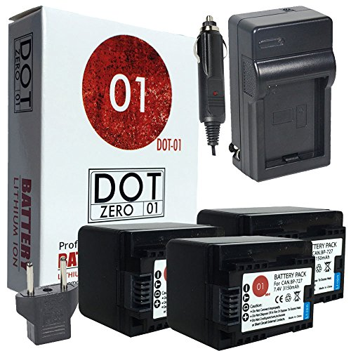 3x DOT-01 Brand Canon HF R800 Batteries and Charger for Canon HF R800 camcorder and Canon HFR800 Battery and Charger Bundle for Canon BP718 BP-718 by DOT-01