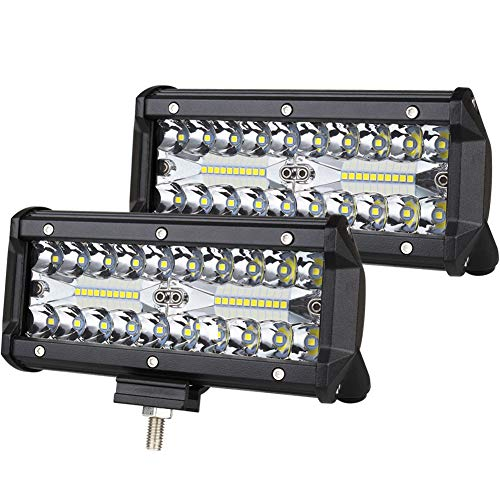 Led Truck - 7inch LED Light Bar 2pcs 240W Offroad Driving Lights LED Pods Spot Flood Combo Beam Fog lights Waterproof Led Work Lights for UTV ATV Jeep Truck Boat