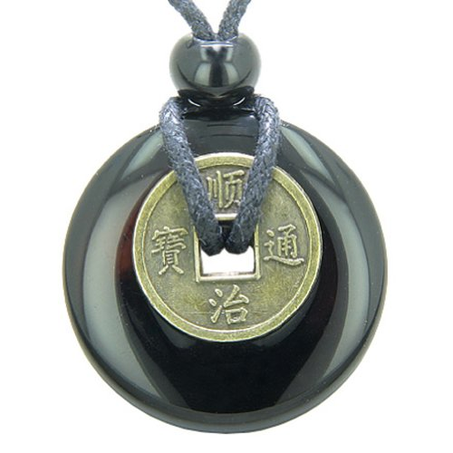 Antique Lucky Coin Spiritual Powers Amulet Black Agate 30mm Donut Pendant Necklace (Mm 30 Agate)