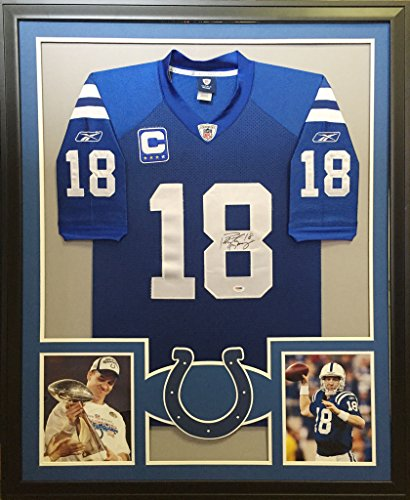 Peyton Manning Framed Jersey Signed PSA/DNA Autographed Indianapolis (Peyton Manning Signed Framed)