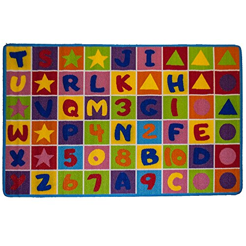 Mybecca Kids Rug Numbers and Letters Area Rug 8 x 11 Non Slip Gel Backingsize approximate: 7' feet 2