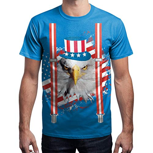 Men's Summer USA Flag Casual Printed Men Shirts Loose Round Neck T-Shirt Tops