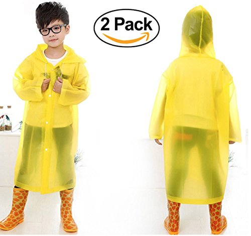 Children's Rain Ponchos with Waterproof Hood and Sleeves for Ages 6-12 - Reusable (2-Pack, Yellow) - Yellow Kids Poncho