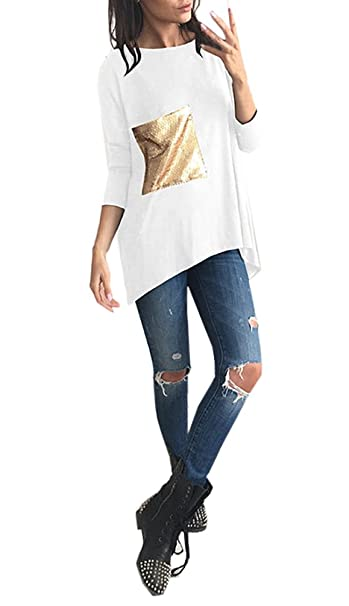 T Shirt Mujer Manga Larga Cuello Redondo Lentejuelas Camiseta Elegantes Fashion Casual Fiesta Estilo Anchas Basicas Camisetas Tops Primavera Otoño Ropa ...