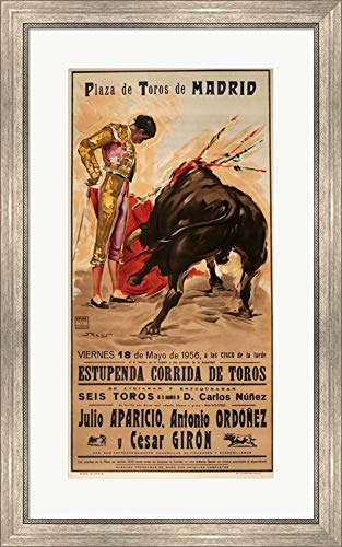 - Matador Barcelona II by Marcus Jules Framed Art Print Wall Picture, Silver Scoop Frame, 21 x 34 inches